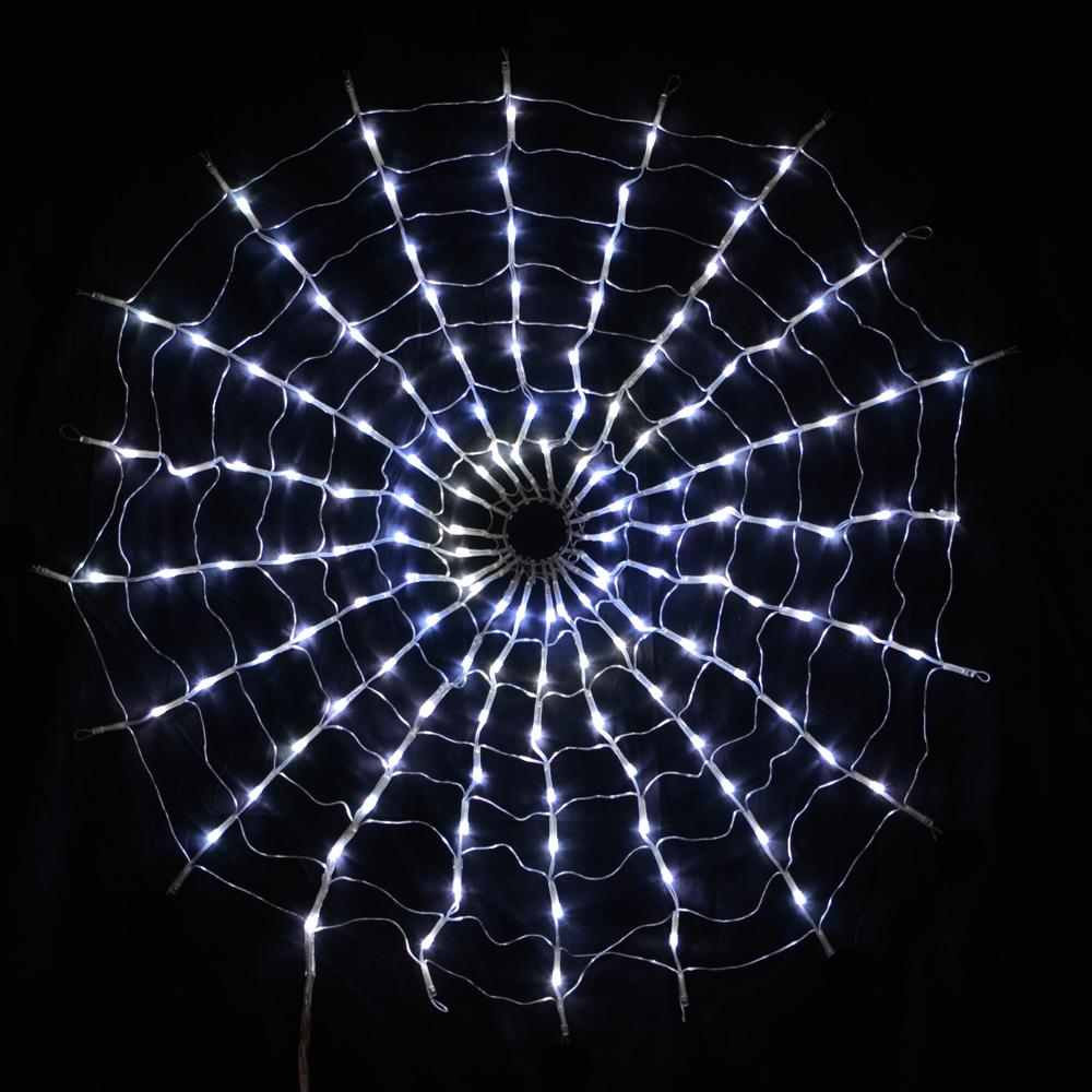 160 LED Multi Function White Spiders Web Net Lights For Halloween Chris