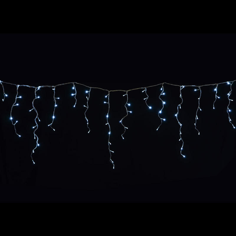 ... LED White Snowing Icicle Christmas Fairy Lights With 8 Light Sequence