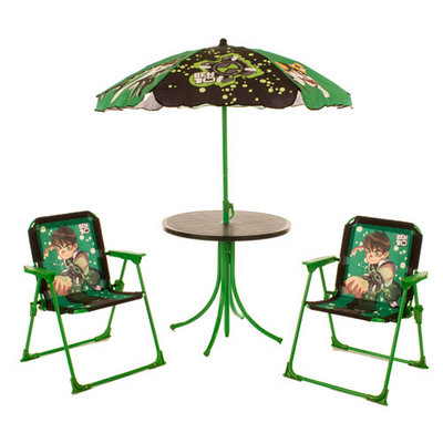BEN 10 Kids 4 Piece Garden Patio Furniture Set Table Parasol Folding Camping Chairs
