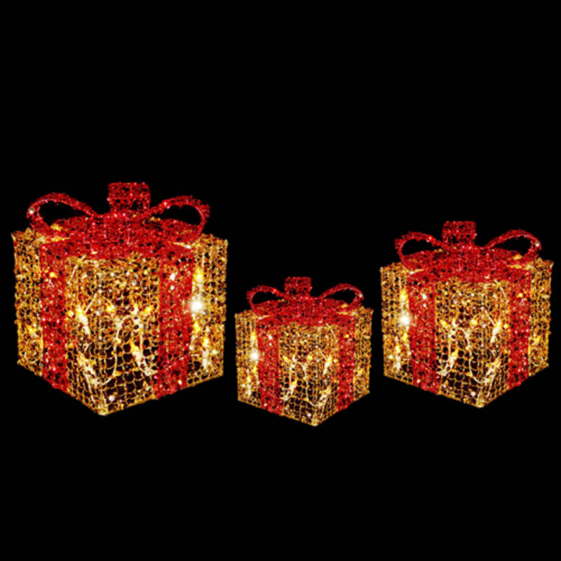 3 x festive glittery light up gift boxes christmas decoration gold red. Black Bedroom Furniture Sets. Home Design Ideas