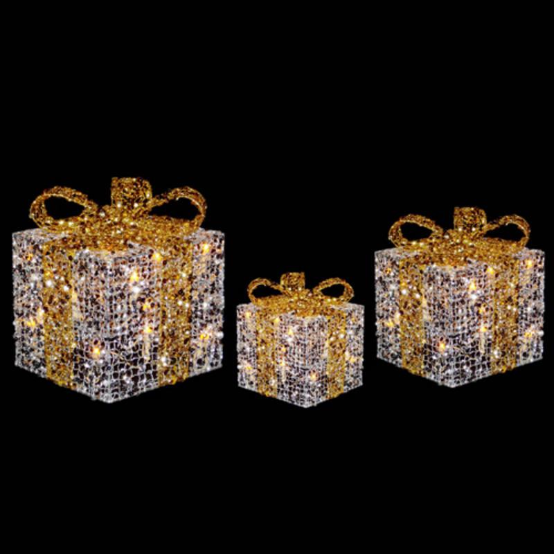 3 X Festive Glittery Light Up Gift Boxes Christmas