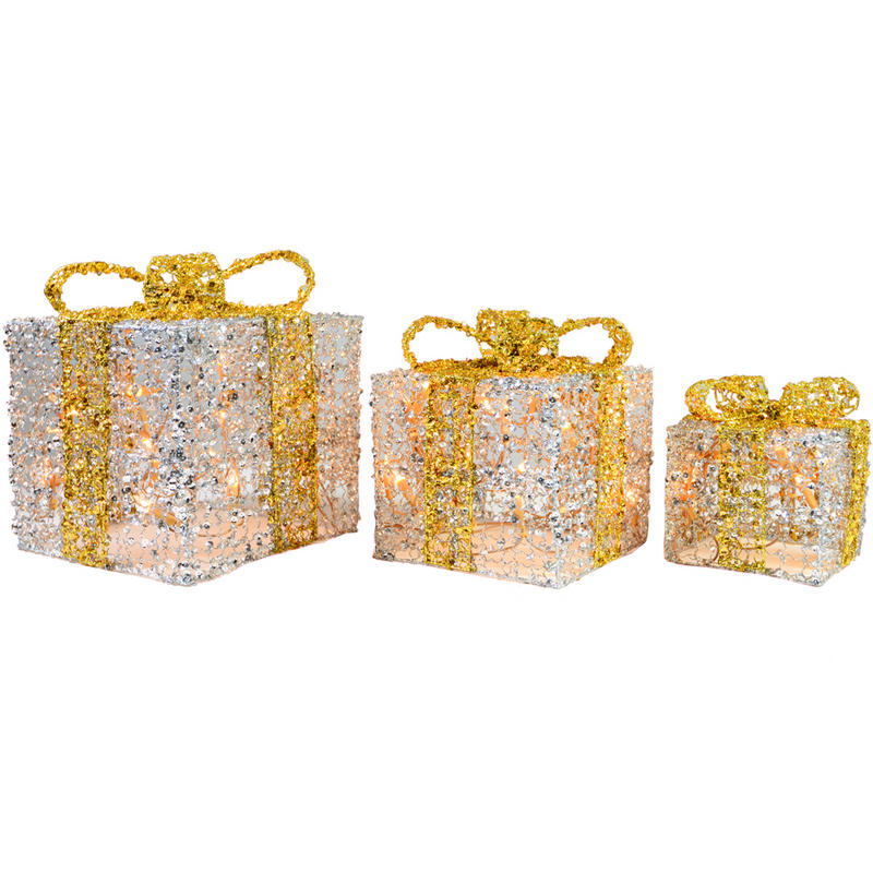 Festive glittery light up gift boxes christmas decoration silver