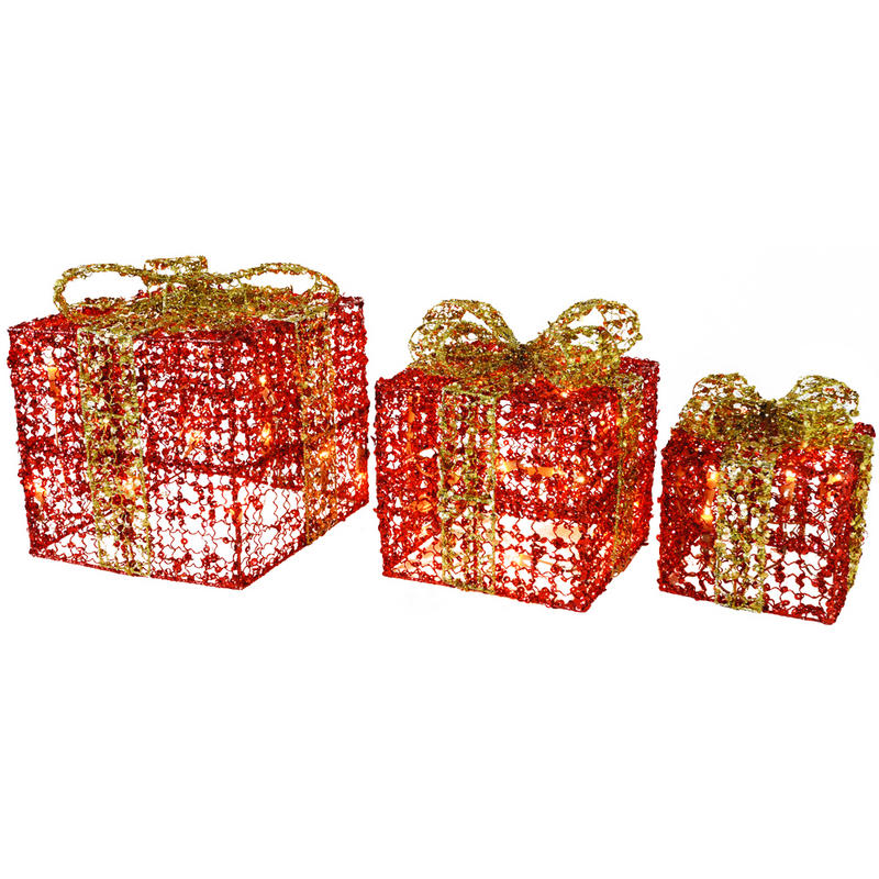 ... light up gift boxes with red ribbon with 50 clear fairy lights approx