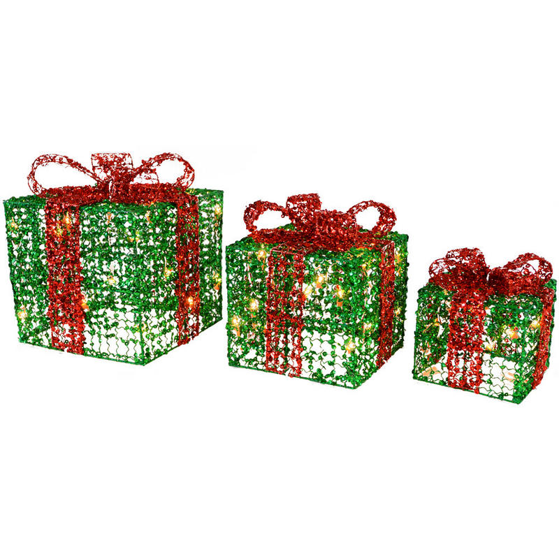 3 X Festive Glittery Light Up Gift Boxes Christmas