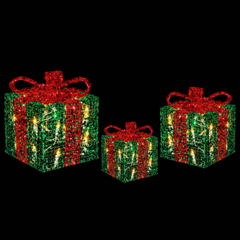 3 x festive glittery light up gift boxes christmas decoration green red. Black Bedroom Furniture Sets. Home Design Ideas