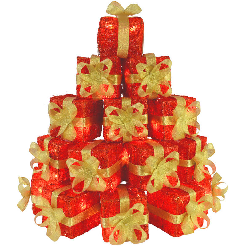 Light up gift box stack christmas decoration red sisal preview