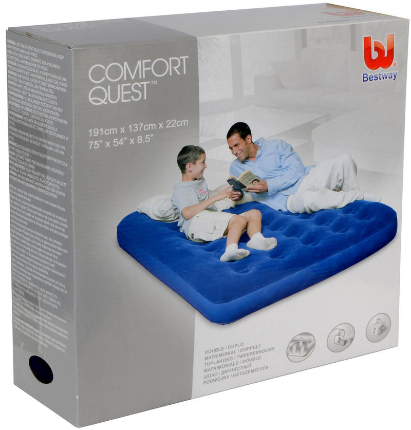 Bestway Double Flocked Air Bed Comfort Quest With Air