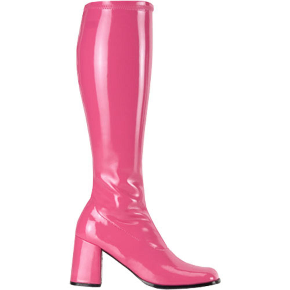 60s 70s Style Sexy Knee High Hot Pink (Wide Calf) Fancy Dress Go Go Boots Preview