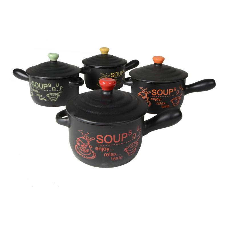 Set Of 4 Modern Design Ceramic Soup Pot Bowls Gift Idea