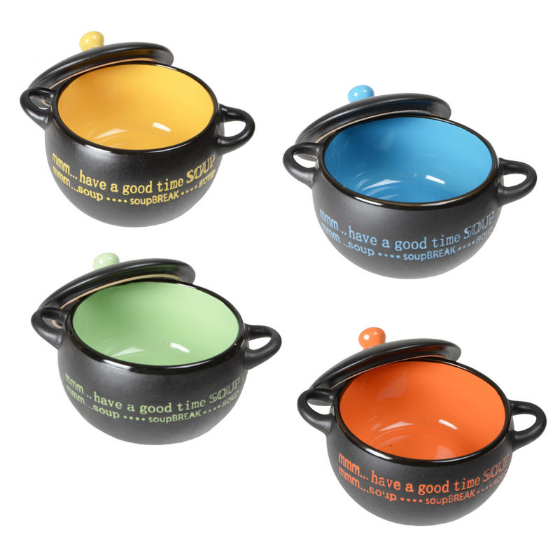 Set of 4 modern design ceramic soup bowls gift idea with coordinating