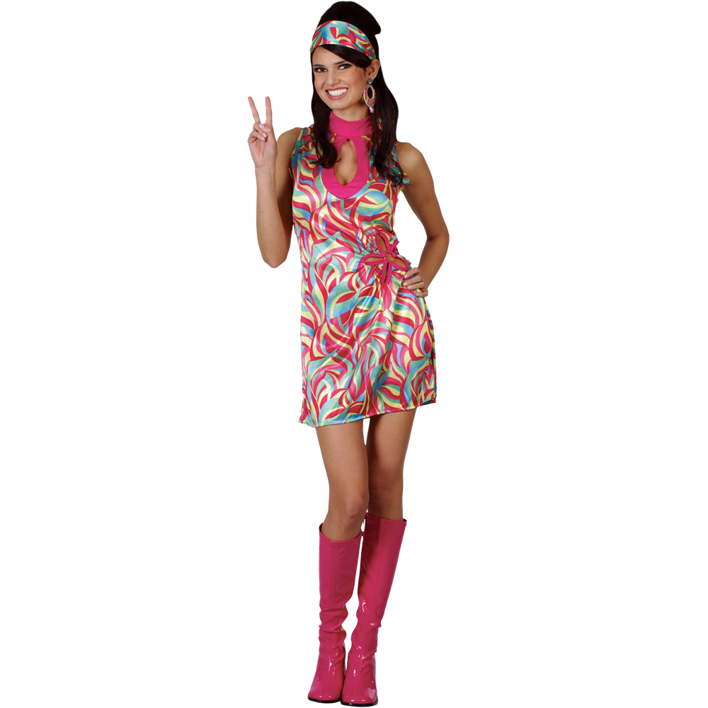 Ladies 60s Retro Groovy Hippie Go Go Girl Sixties Fancy ...