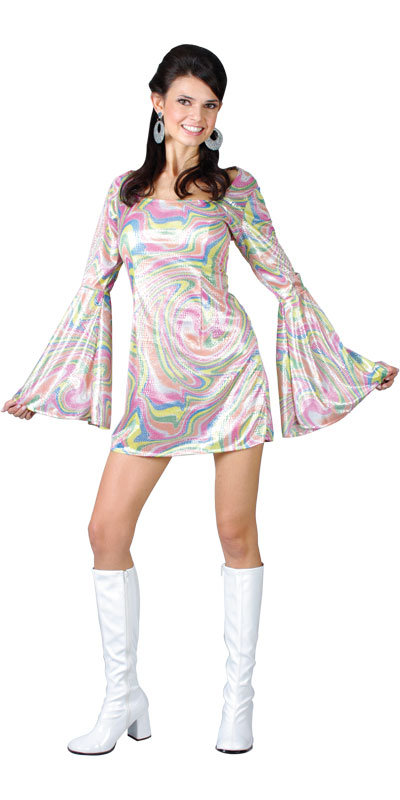 Disco Fashion on 70s Style Psychedelic Disco Dancing Mini Dress Ladies Fancy Dress