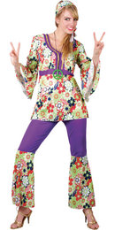 Womens Groovy Swinging 60's Vintage Hippy Chick Fashion Fancy Dress Outfit