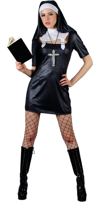 Sinful Sister Act Sexy Nun Ladies Fancy Dress Costume