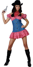 Wild West Sexy Cowgirl Ladies Fancy Dress Costume Thumbnail 2