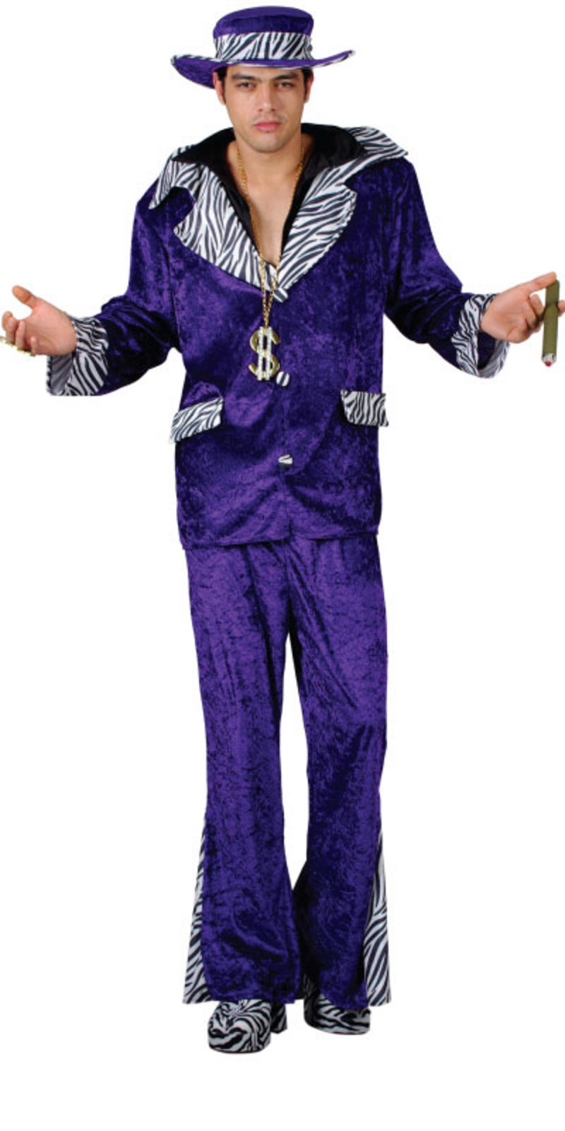 70s New York Pimp Daddy Mens Fancy Dress Costume Purple Thumbnail 2