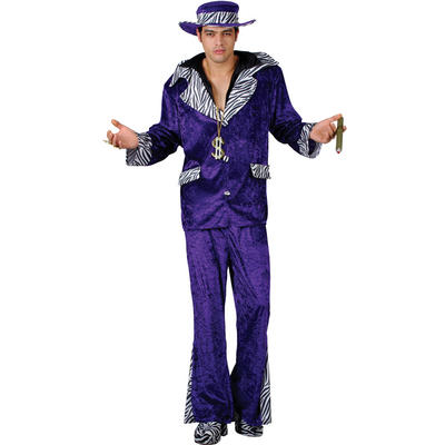 1970s Style New York Pimp Daddy Purple Luxury Mens Fancy Dress Costume