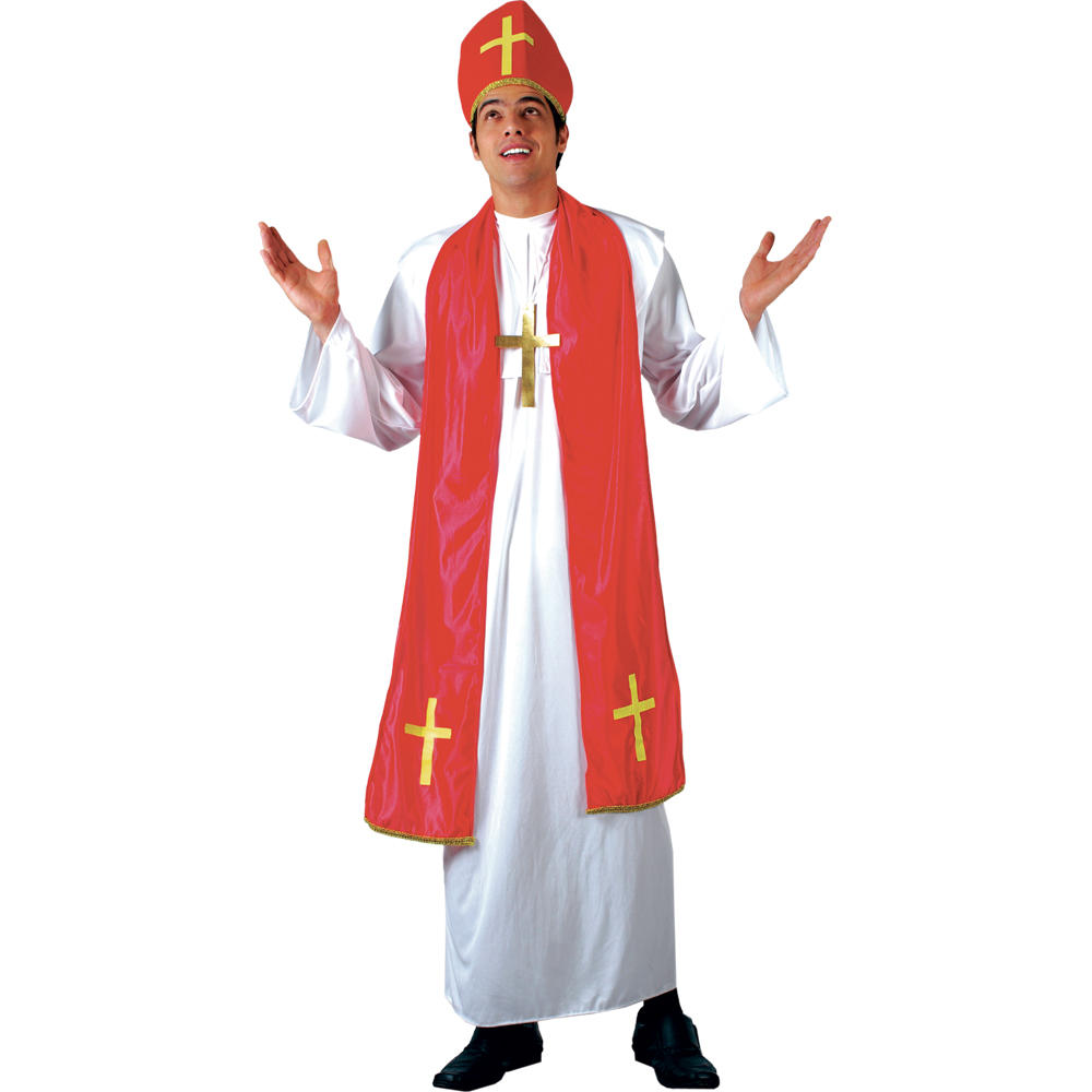 Mens Holy Cardinal Bishop Pope Fancy Dress Up Party