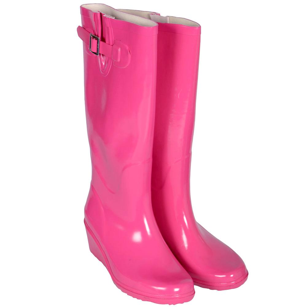 Ladies festival gloss hot pink wellies girls fashion wellington boots