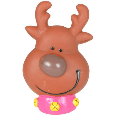Cheery Christmas Xmas Festive Reindeer Shaped Vinyl Squeaky Dog Toy Gift Present New