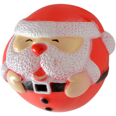 Cheery Christmas Xmas Festive Santa Ball Shaped Vinyl Squeaky Dog Toy Gift Present New