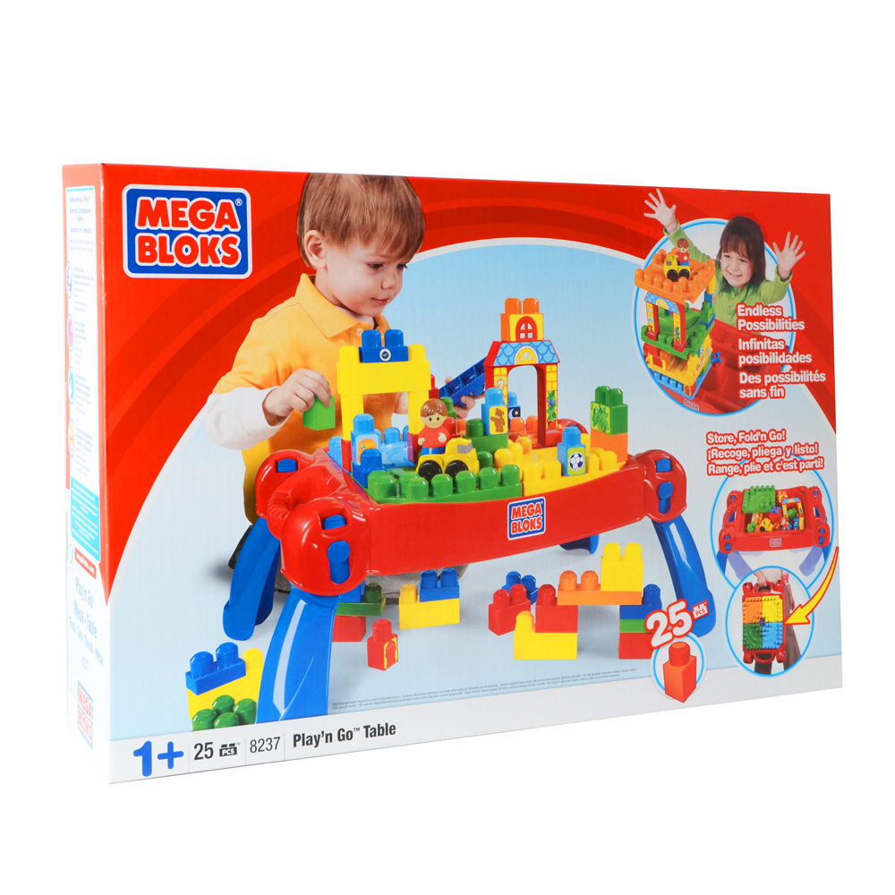 mega bloks play n go table childrens building bricks ebay. Black Bedroom Furniture Sets. Home Design Ideas