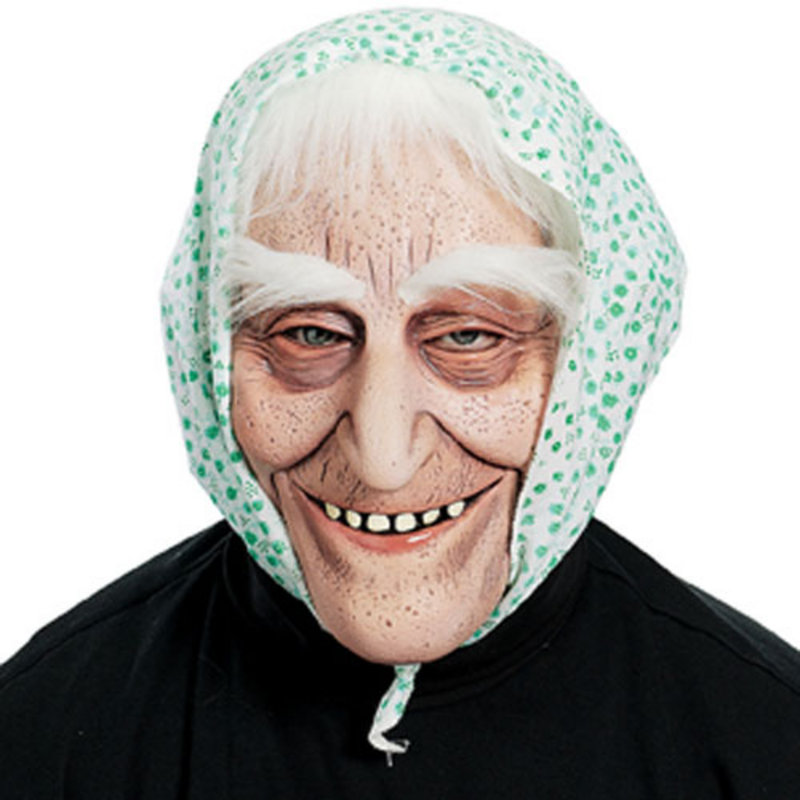 Fancy dress hooded hags old ladies latex masks hair preview