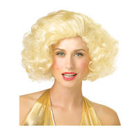 Ladies PMG Movie Star Blonde Curly Marilyn Monroe Pinup Style Hollywood Fancy Dress Wig