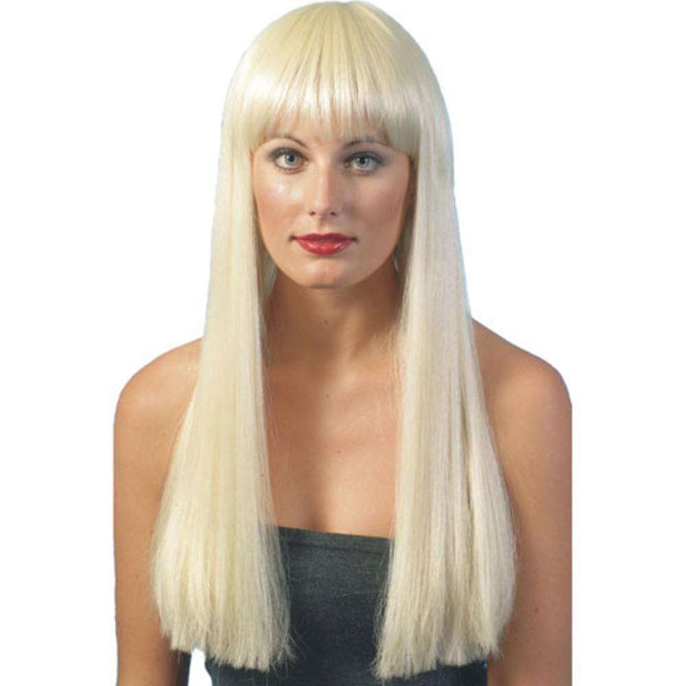Long Blonde Straight Wig Fringe Fancy Dress Beauty Wig