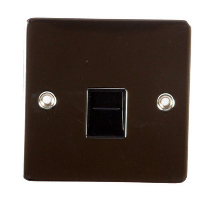 Flat Polished Chrome Telephone Slave Socket / Black