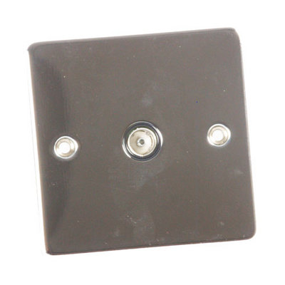 Flat Polished Chrome Wall TV Single Socket Cover