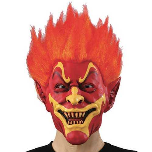 Adult Fire Devil Mask With Hair Fancy Dress Halloween Costume Party Accessory