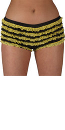 Sexy Black/Yellow Deluxe Ruffle Shorts Ruffle Pants Frilly Knickers Hot Pants