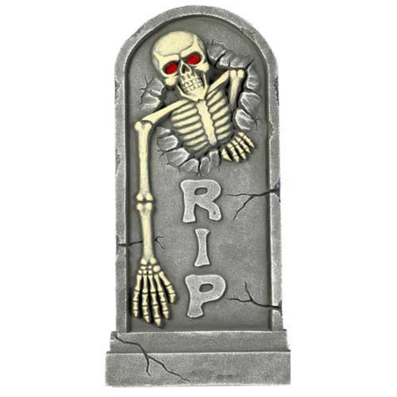 Giant Tombstone Light Up Red Eyes Halloween Decoration