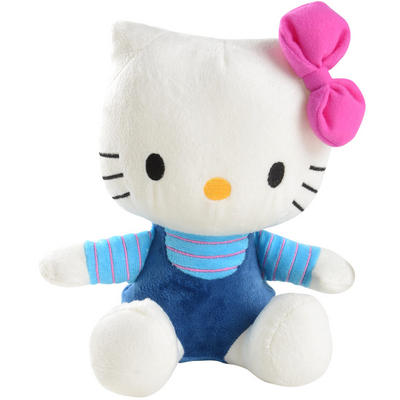 "20cm / 8"" Sanrio Hello Kitty Mini Plush Soft Toy Sitting Kitty Wears Navy & Blue With Pink Stripes & Bow"