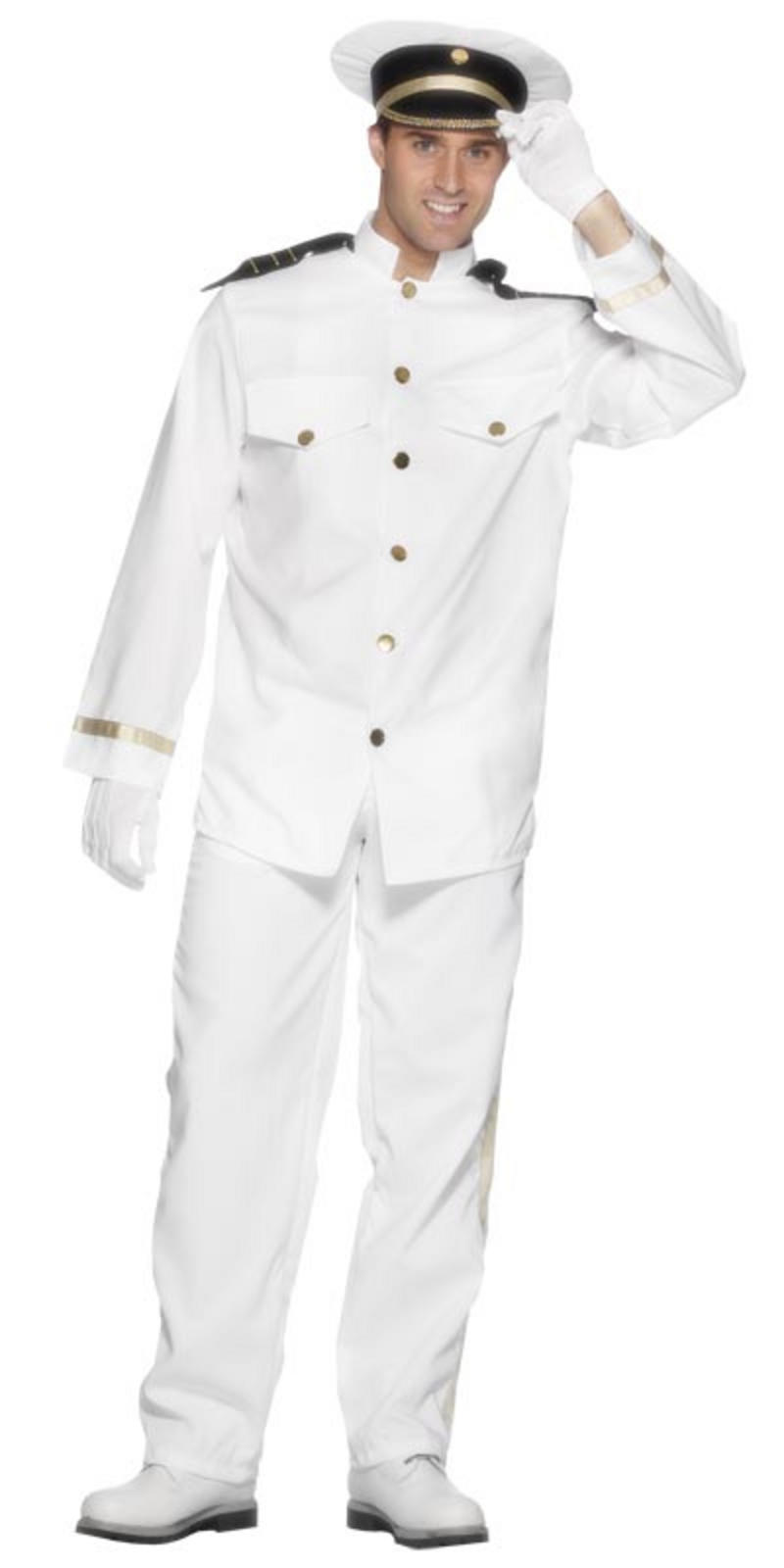 Navy Captain Sailor Uniform Mens Fancy Dress Halloween Party Costume ...