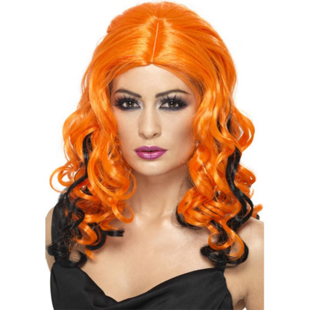 Wicked Witch Orange Amp Black Long Curly Halloween Wig