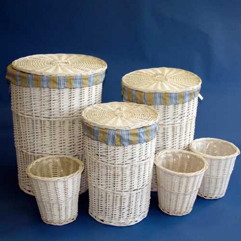 Soft Rush Lidded Rectangular Lined Storage Basket: 6 Beautiful White Willow Lined Laundry Storage Baskets