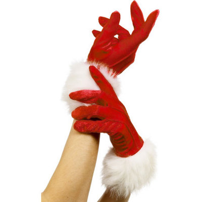 Ladies Santa Style Gloves Red With White Fur Trims