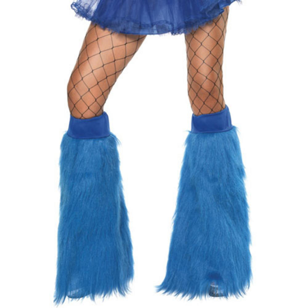 70s 80s Theme Neon Blue Furry Boot Covers Fancy Dress Preview