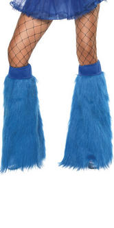 70s 80s Theme Neon Blue Furry Boot Covers Fancy Dress Thumbnail 2