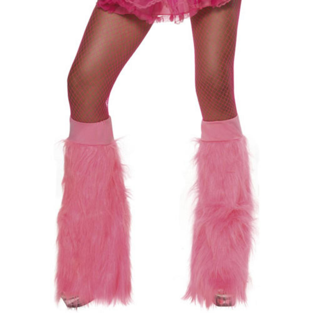 70s 80s Theme Neon Pink Furry Boot Covers Fancy Dress Preview