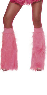70s 80s Theme Neon Pink Furry Boot Covers Fancy Dress Thumbnail 2