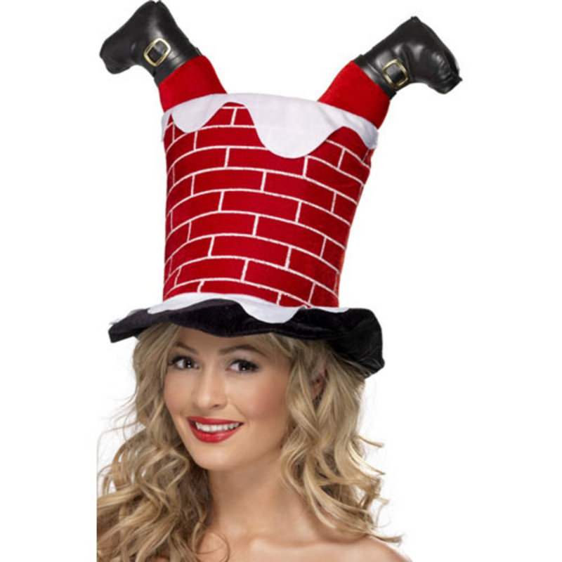 New Santa Down The Chimney Christmas Novelty Fun Hat Preview