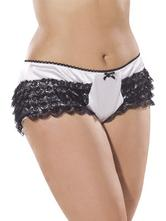 Bijou Boutique White Panties Trimmed With Black Lace XLarge