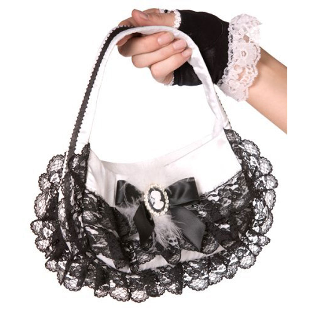 Bijou Boutique Black & White Cameo Handbag Lace Trim