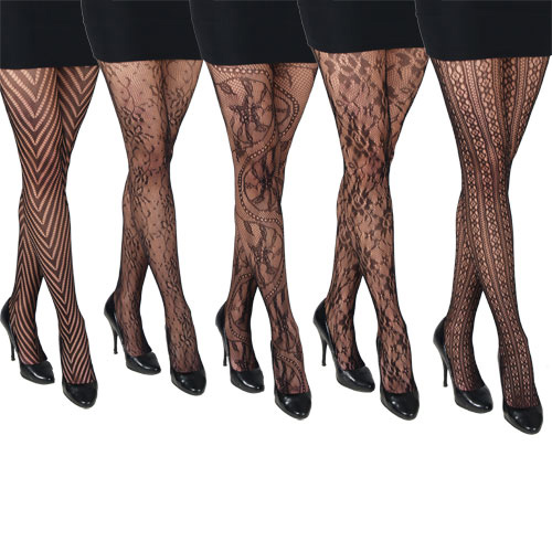 5 Pairs Gorgeous Black Fishnet Patterned Fashion Tights