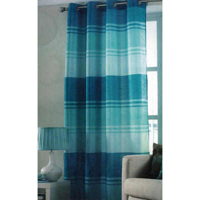Teal Stripe Ring Top One Window Curtain Panel 145 x 228cm New