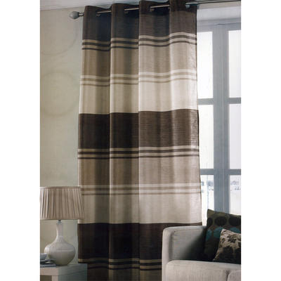 Chocolate Brown Stripe Ring Top One Window Curtain Panel 145 x 228cm New