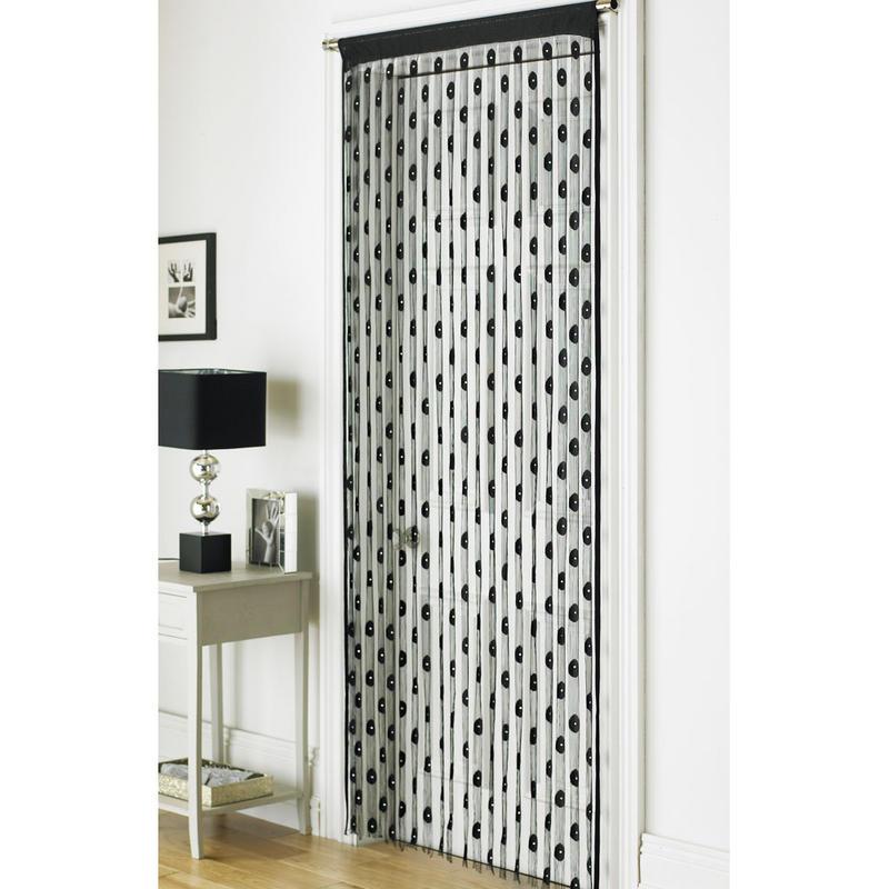 retro chic string interior door curtain panel 90 x 200cm black diamond new